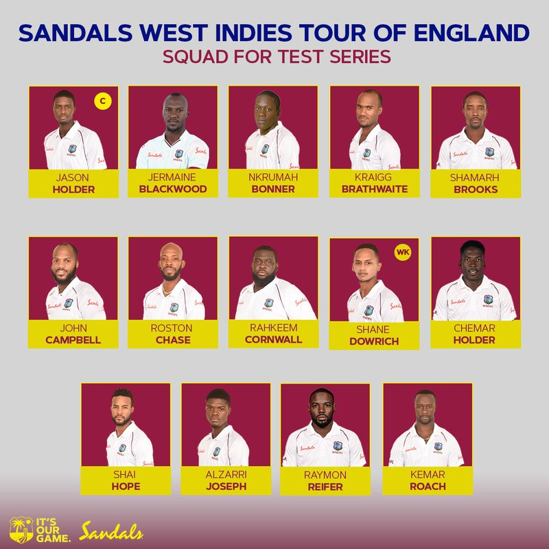 West Indies announced squad for England Tour
